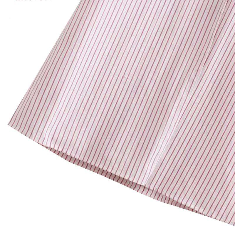 stylish V neck striped dress bow tie sashes elastic waist pocket short sleeve female midi dresses vestidos mujer