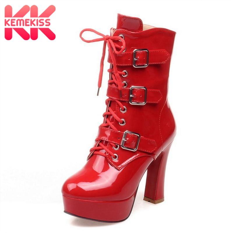 01d0ef53 Compre KemeKiss Botas De Invierno De Mitad De La Pantorrilla De Cordones De  Piel De Felpa Zapatos De Mujer Lace Up Botas De Tacón Alto Hebilla Calzado  ...