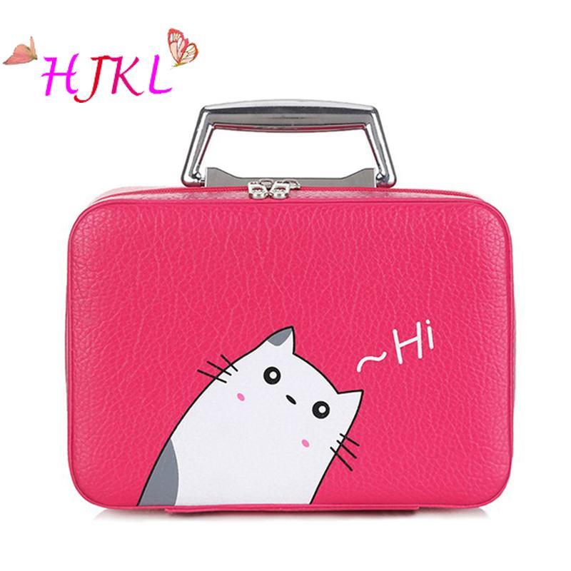 5e5186d5c1d8 Women Cosmetic Bag Organizer Makeup Bag PU Leather Travel Toiletry ...