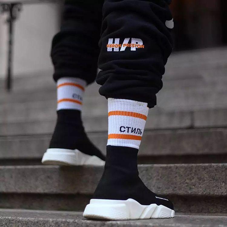 Heron Preston 2018 homens mulheres meias meias pretas whirte guindaste carta ctnnb meias longas hip hop streetwear kanye west meias