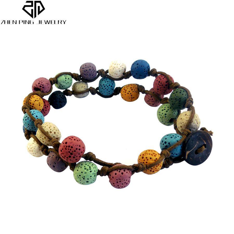 2019 Colorful Handmade Natural Lava Stone Bracelets Essential Oil
