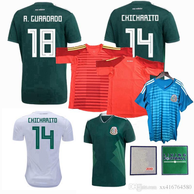 Nuevo 2018 2019 Camiseta De Fútbol De México R.MARQUEZ H.LOZANO GUARDADO  HERRERA CHICHARITO A.GUARDADO 18 19 Camisetas De Portero De Fútbol S 2XL  Por ... a920ed5329d88