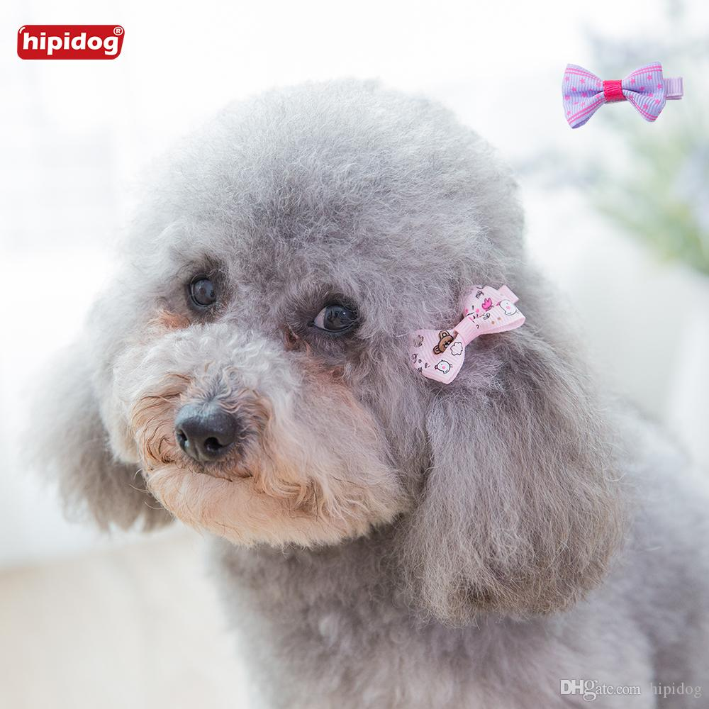 Hipidog 3Pcs/set Cute Clips Hand-made Ribbon Dog Cat Hair Star Bear Butterfly Striped Printed Pet Grooming Pet Hair Accessories