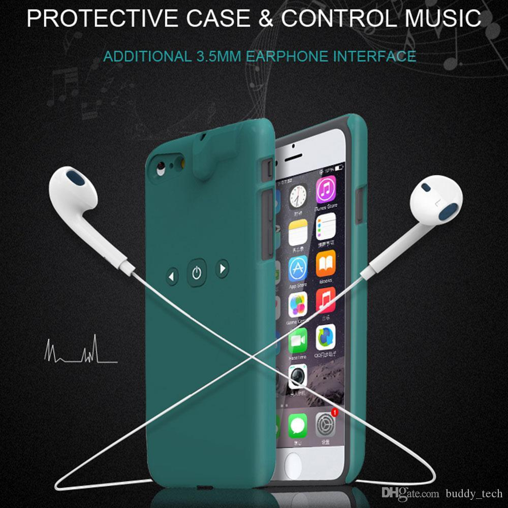 3 in 1 Smart Bluetooth Player 3.5mm Earphone Jack Aux Audio Converter Protective ABS Case for iPhone 7 Case With Music Control