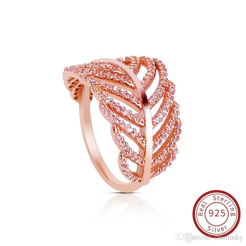 c9e291591 2019 Rose Gold Real 925 Sterling Silver CZ Diamond RING With LOGO Fit  Pandora Style Wedding Feather Ring Engagement Jewelry For Women 180886CZ  From Charmdiy ...