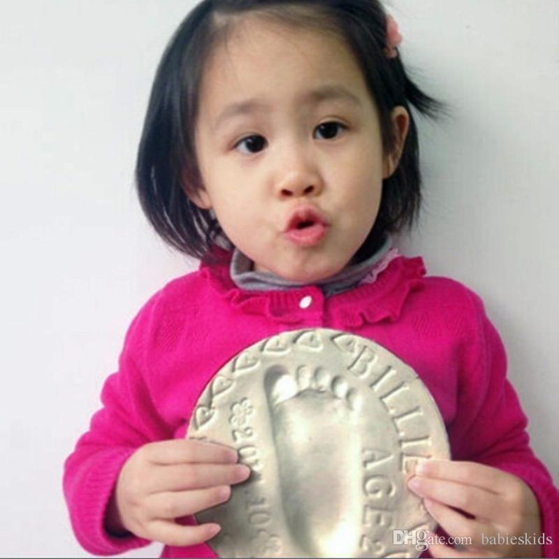 أزياء الوليد لينة كلاي صب ضوء الطفل اليد البصمة بصمة عدة الهواء تجفيف ناحية طباعة inkpad هدايا الطفل