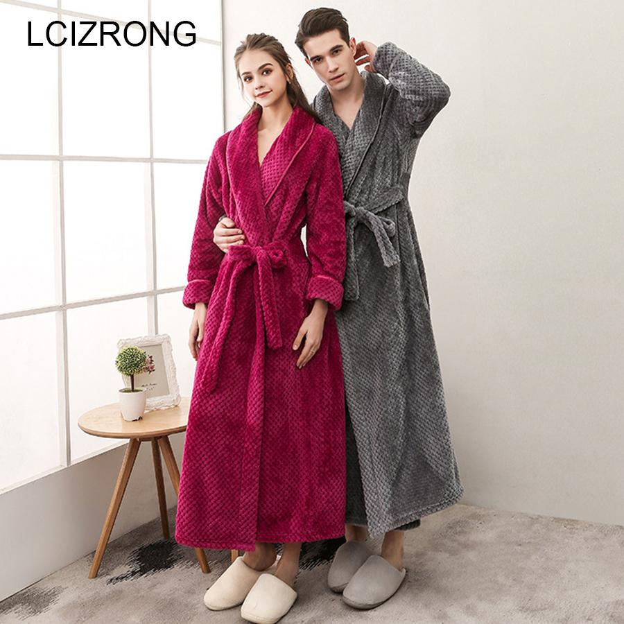 621adb349a 2019 Winter Couple Thick Long Bathrobes Women Plus Size Flannel Sexy Kimono  Ankle Length Dressing Gown Warm Soft Unisex Lounge Robe From Xiayuhe