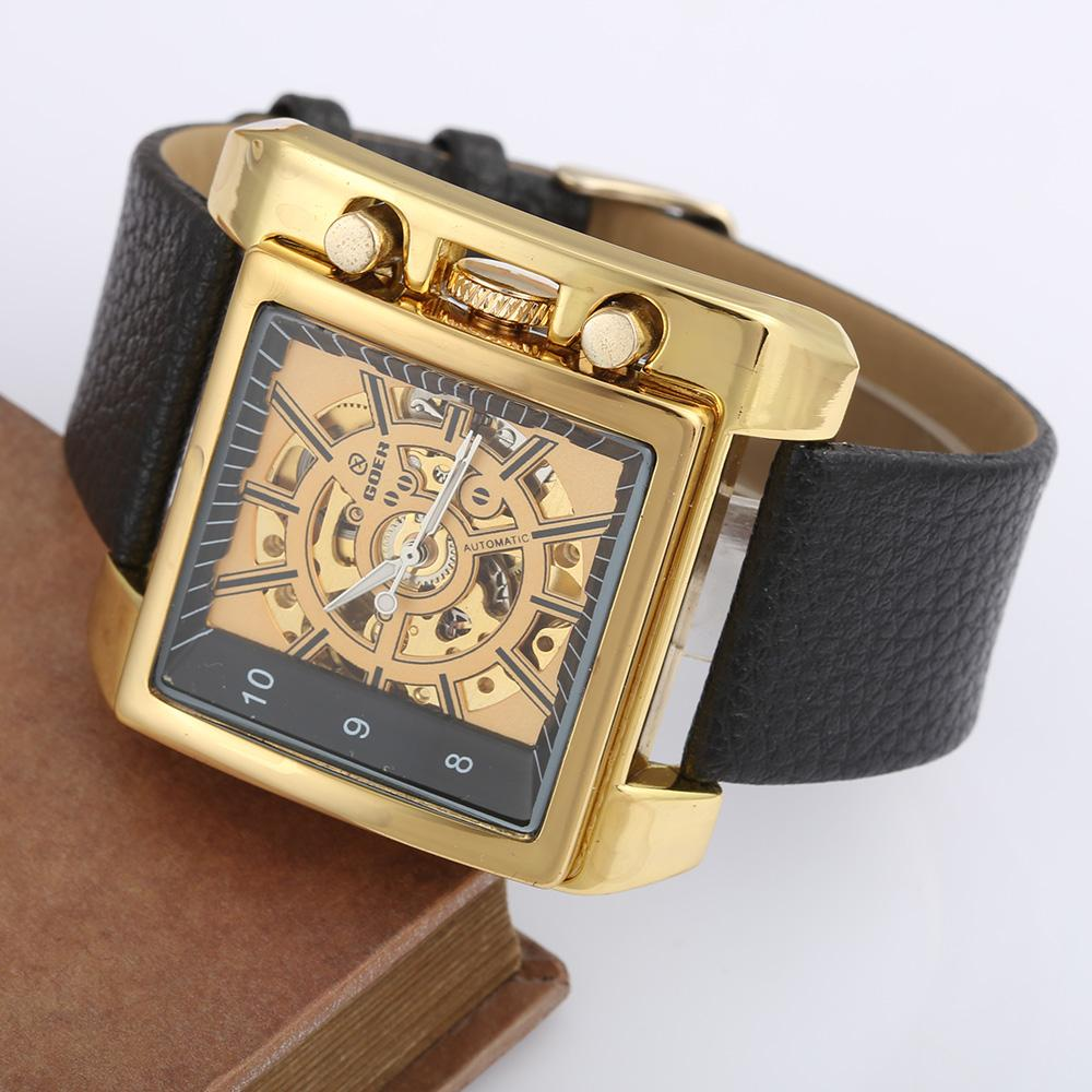 a013b21bf02 Relogio Masculino GOER Top Brand Watches Mens Gold Skeleton Mechanical  Watches Men Luxury Automatic Men Square Watch Sales Online Watch On Sale  From ...