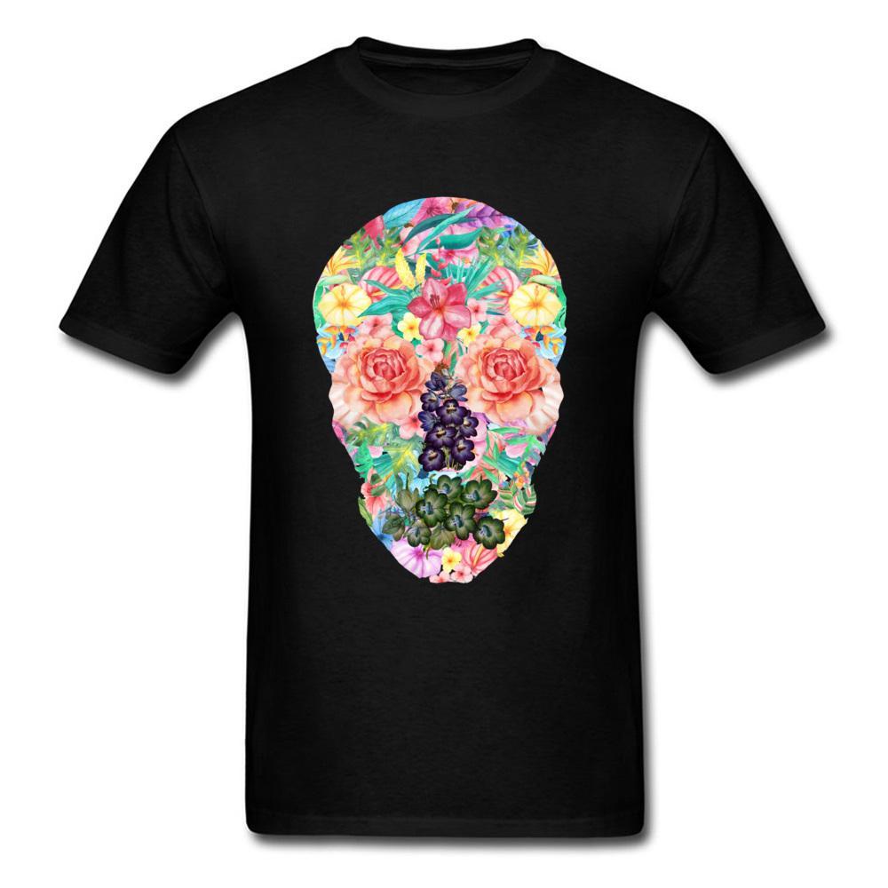 d23d111540da7 Acheter Crâne Fleurs Homme Tshirt 100% Coon Groupe Tops T Shirt Pas Cher T  Shirt À Manches Courtes Pour Hommes T Shirt 3D Tête De Mort Crâne Été Col  Rond De ...