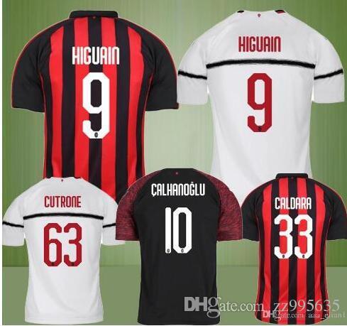 2018 New AC HIGUAIN 18 19 Soccer Jerseys 2018 2019 Milan Football Shirt  KESSIE CALDARA CUTRONE Camisa CALHANOGLU KALINIC BONAVENTURA Maillot From  Zz995635 932a8ca6436ef