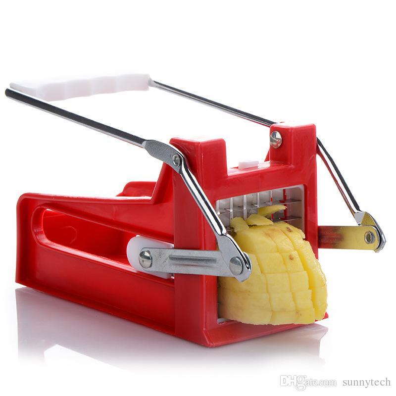 Mais novo Tipo de Mão Tipo Batata Chipper Batata Frita Fatiador Slicer Fabricante de Frutas Vegetais Dispositivo de Corte De Chip De Lâmina De Aço Inoxidável Chopper LZ1294