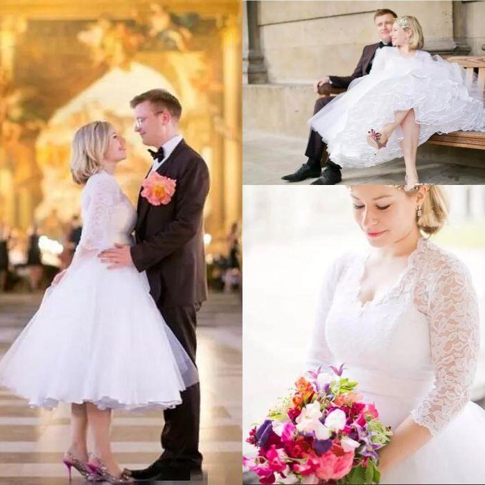 1da4b70fc03 Discount Tea Length Plus Size Wedding Dresses 2018 Vintage Bridal Gowns A  Line 3 4 Long Sleeves V Neck Lace Appliques Bodice Short Wedding Dresses  Modest ...