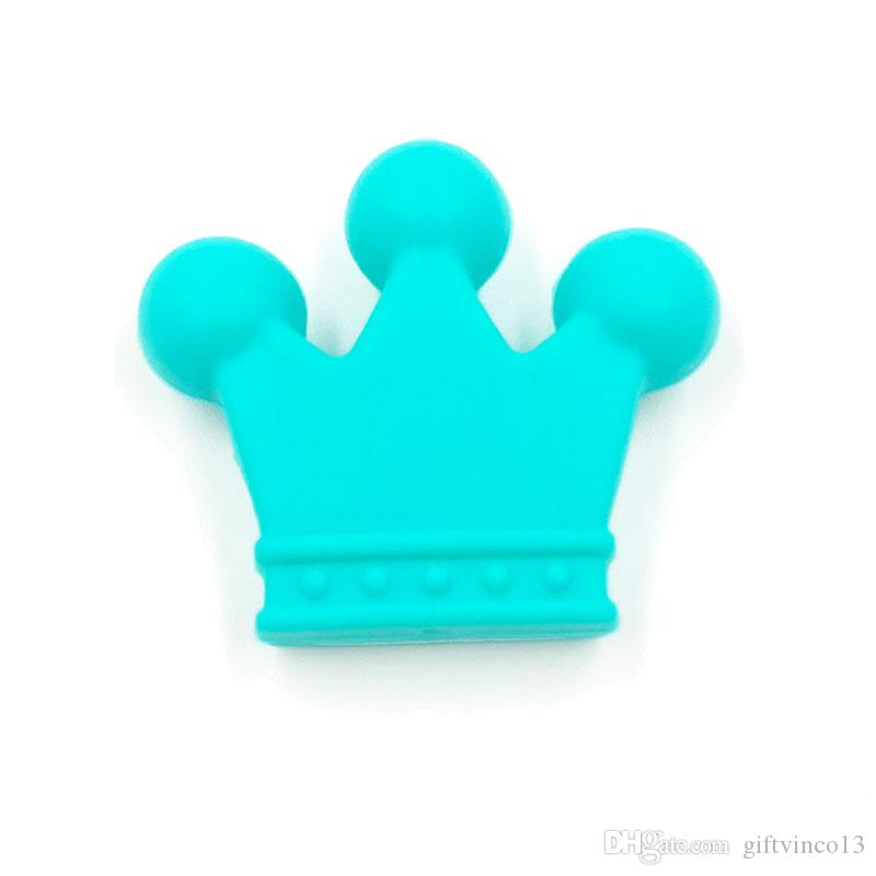 Mini Crown Beads Food Grade Silicone Baby Teething Toy DIY Baby Chew Necklace Pacifier Clip Loose Beads Nursing Teethers