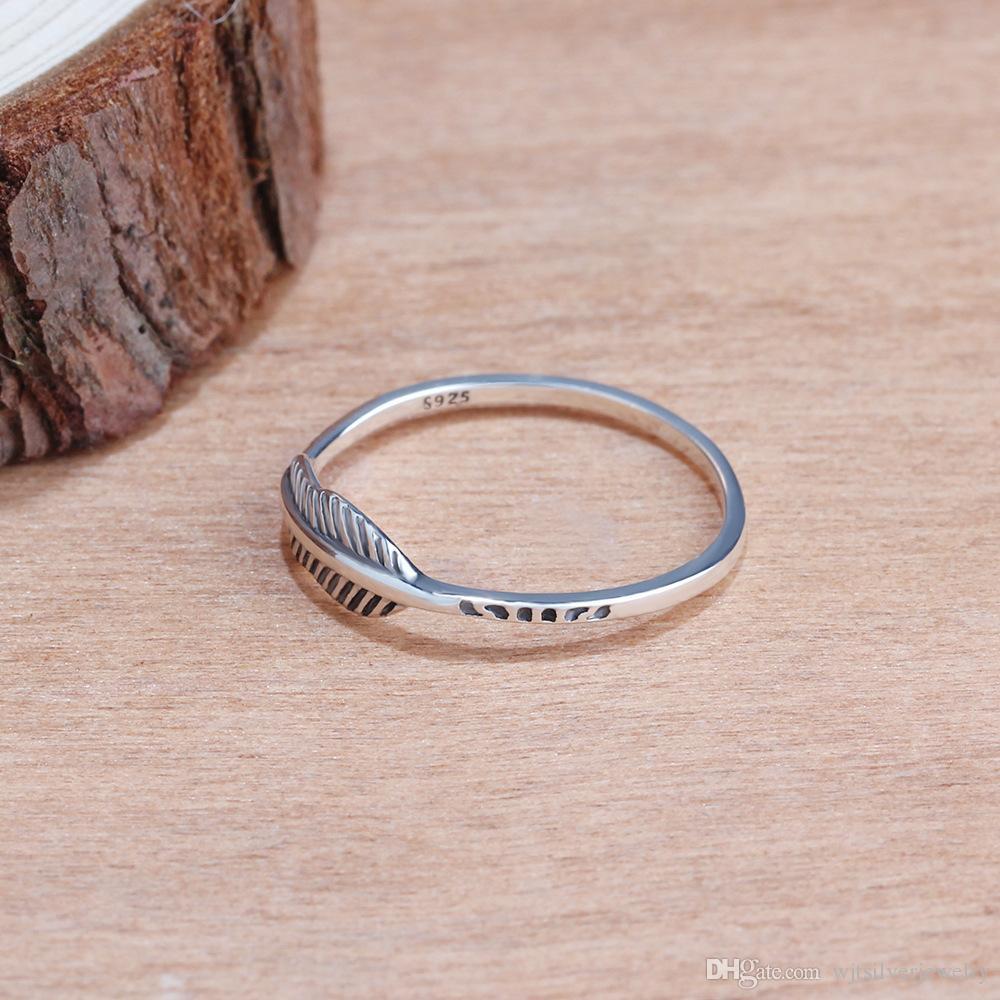 Venta de la joyería caliente diseña joyería 925 de plata esterlina oxidado pluma antiguo anillo del nudillo Señora de moda sólida