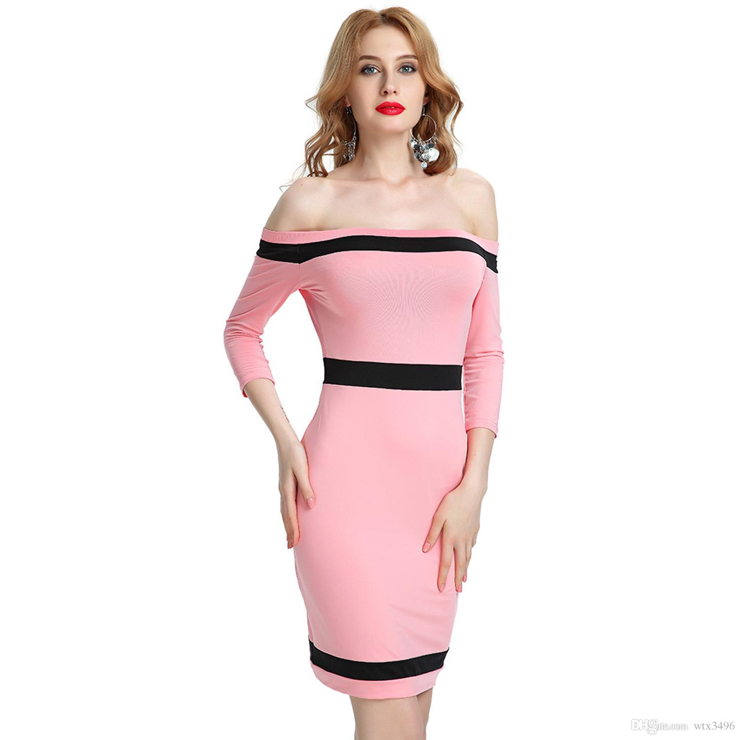 c90bb44b443 Sexy Off Shoulder 3 4 Sleeve Bodycon Cocktail Dresses Pink Thin Slim ...