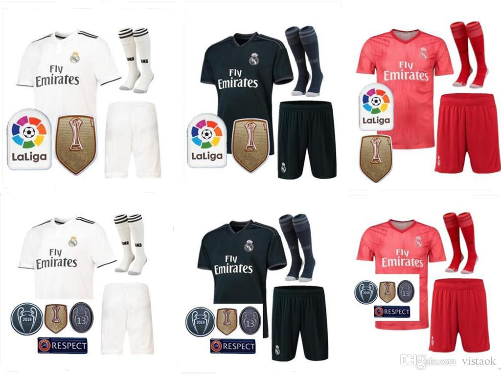 2019 18 19 Real Madrid Home Away 3RD MANS Adult Kits Jerseys With Patch 2018  2019 RealES Madrid RONALDO BENZEMA JAMES BALE Shirt From Vistaok 69e960489