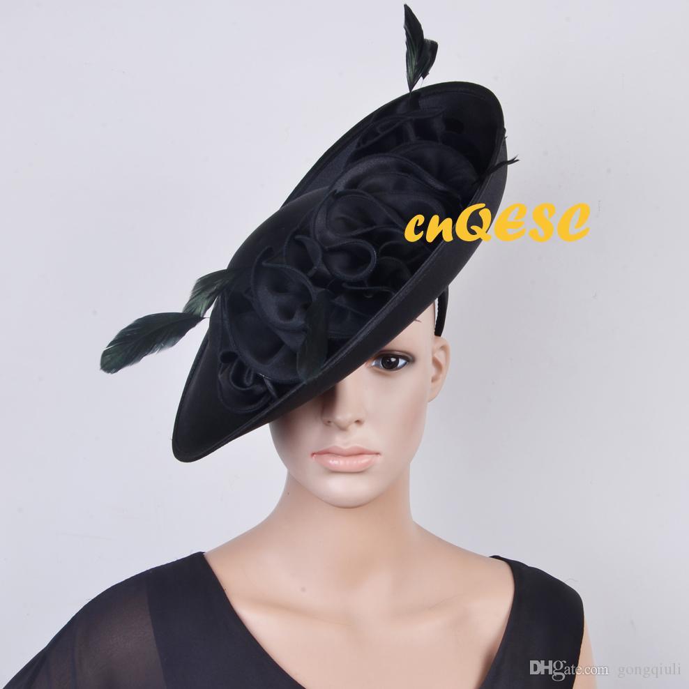 Nero tutto l'anno Grande cappello di fascinator in satin con piattino Kentucky Derby, matrimonio, chiesa, festa, occasioni formali.