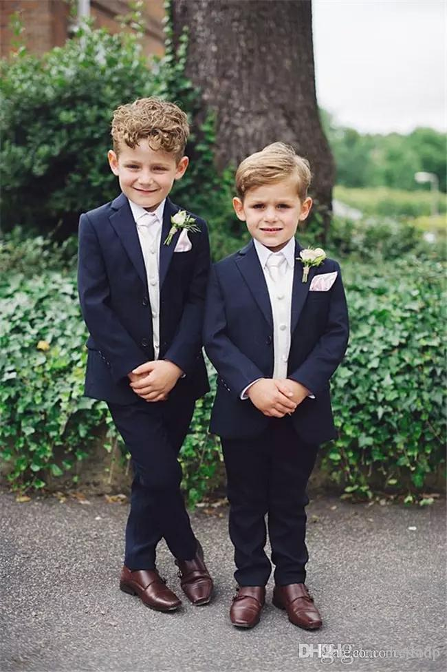 Two Piece Handsome Kids Formal Wedding Suits Notched Lapel Custom Made Boys Formal Wear New Arrival Jacket + Pants+Handkerchief