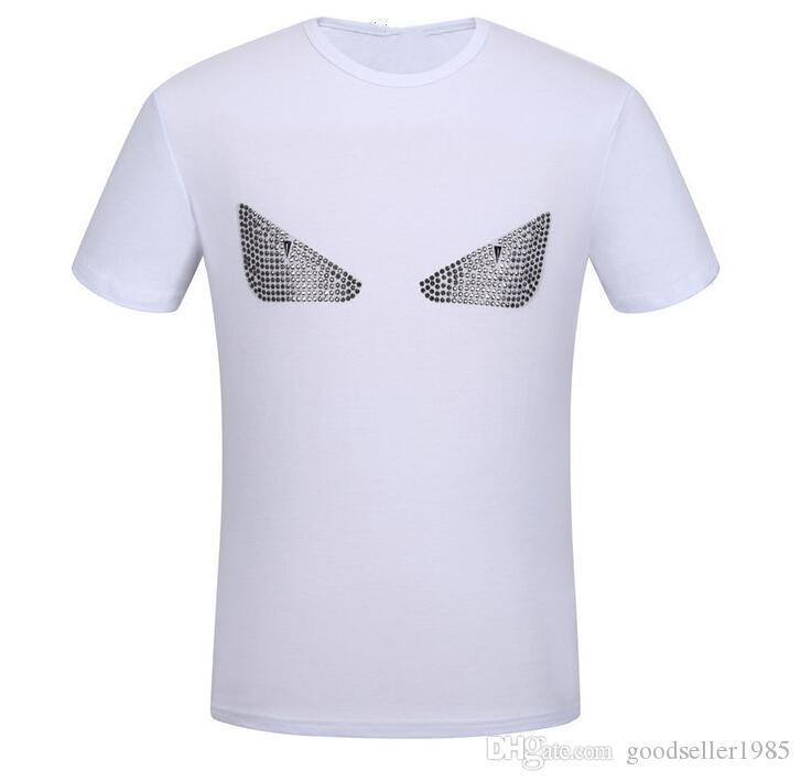 Blanc Marque Hommes Femmes T-shirt À Manches Courtes Rivet Petit Monstre Drôle Yeux Imprimer Hommes De Coton De Haute Qualité Cool T-shirt Hip Hop tops T-shirts