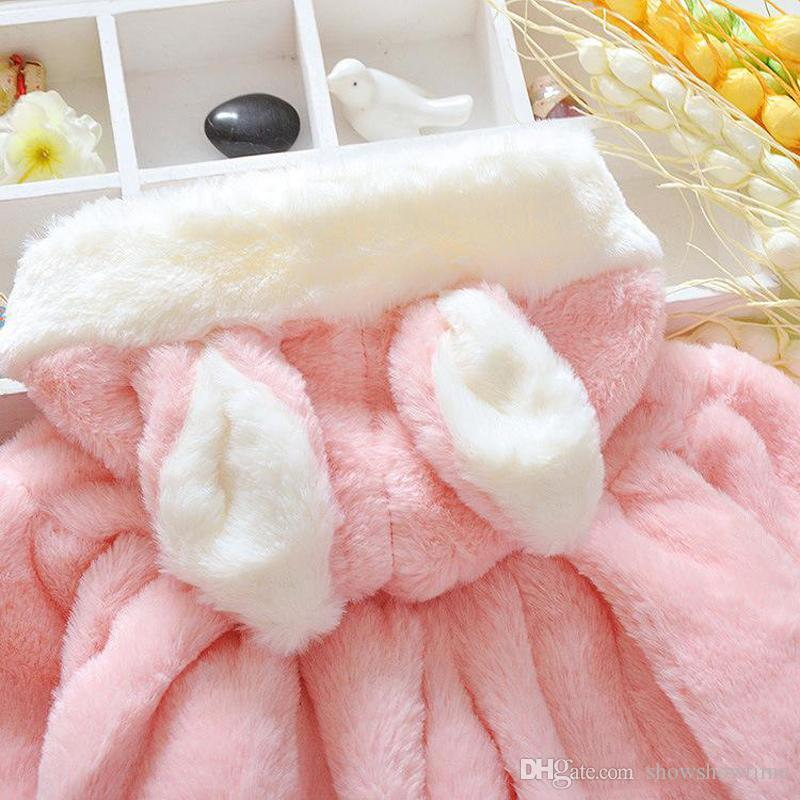 2018 Winter Hot Newborn Kids Poncho Baby Girls Warm Outerwear Hoodie Hooded Coral Velvet Warm Coat Jacket Top For Age 0-24 Months