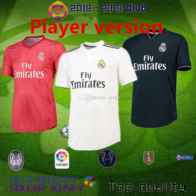 Compre 2018 2019 Real Madrid Versão Do Jogador Autêntica Casa Fora 18 19  RONALDO MBAPPE BOLA RAMOS ISCO MARCELO MODRIC Camisolas De Futebol S XXL De  Wutb a42e35ae277e3