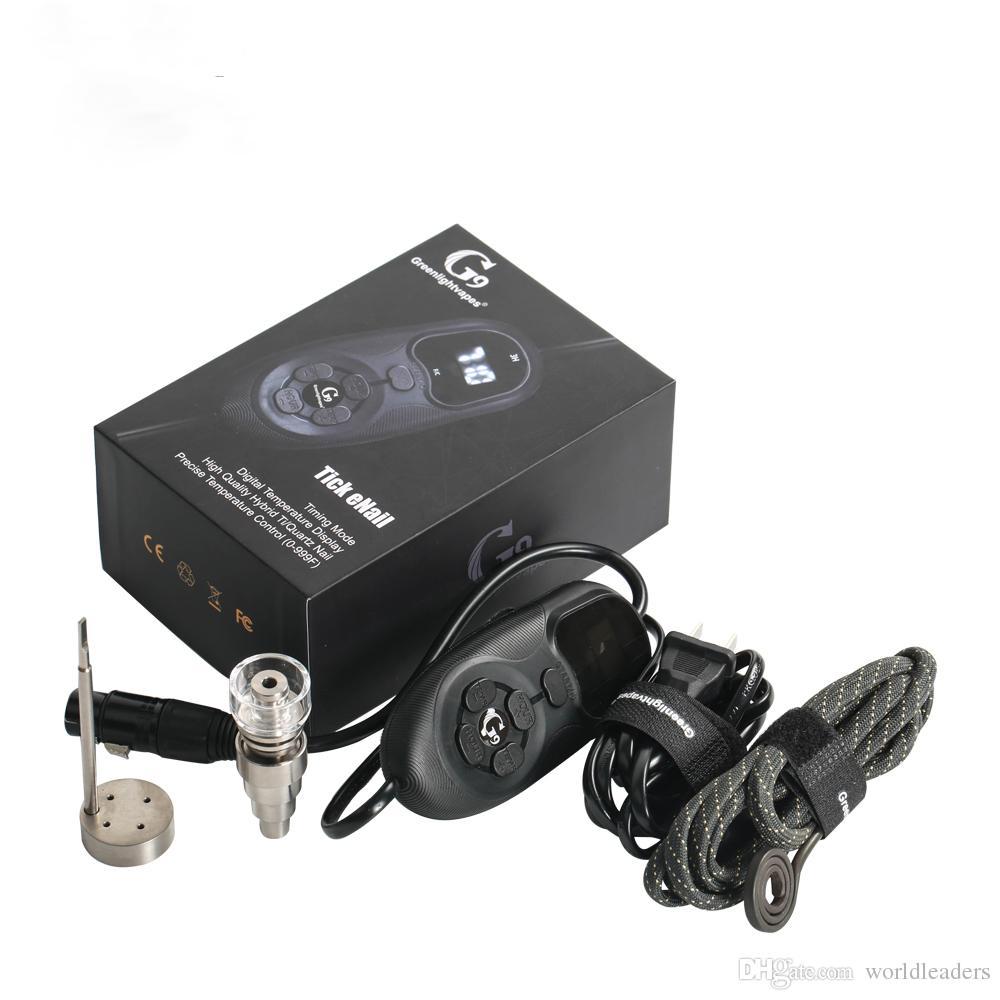 G9 Portable 16MM Quartz Hybrid Titanium Nail Electric D Nail PID Temperature Control Digital Tick eNail Kit For Wax Dry Herb Glass Bong