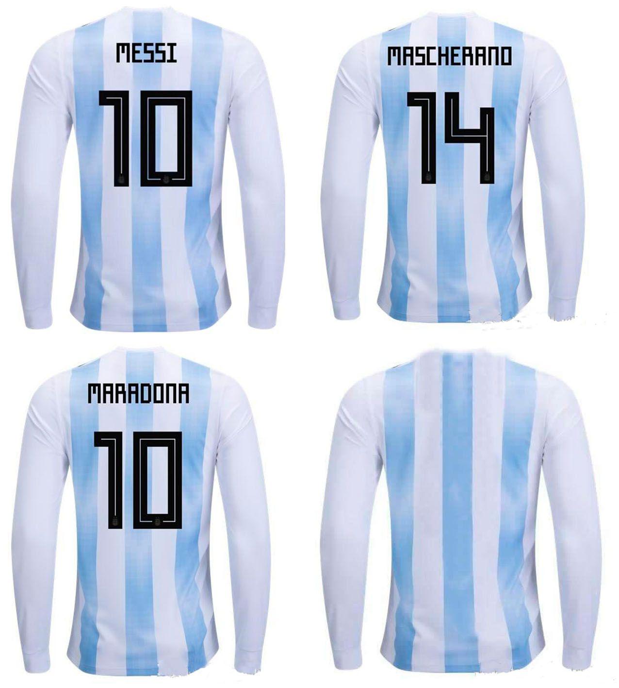 2de7c29a901 2018 Argentina Long Sleeve Soccer Jerseys Adult Top Thai Qulaity Full Sleeve  Football Tops World Cup 2018 Messi MARADONA DYBALA Soocer Shirt