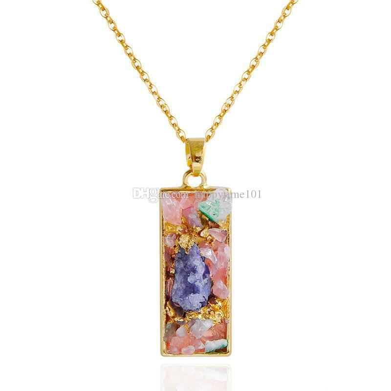 Gold Tone Geometric Colorful Stone Pendant Necklace With Cross Drop Heart Oval Triangle Rectangle Pendant Charms Statement Necklaces