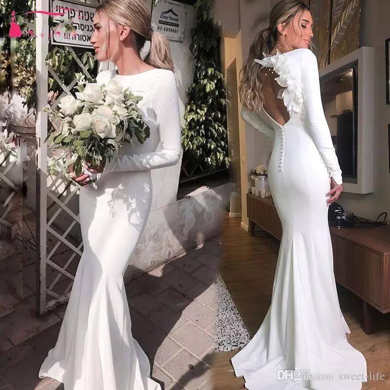 compre 2018 manga larga de satén vestidos de novia joya cuello