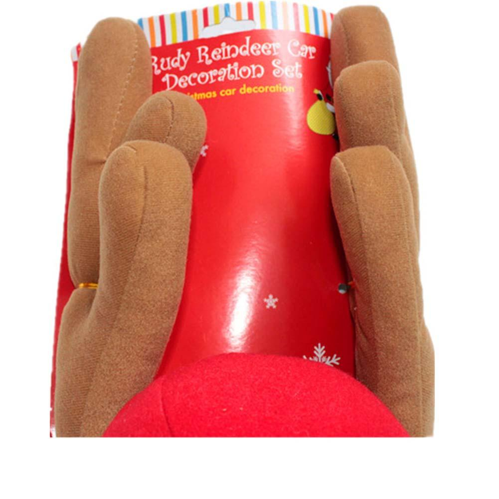 2018 Reindeer Christmas Decor Car Vehicle Nose Horn Costume Set Rudolf Christmas Reindeer Antlers Red Nose Ornaments