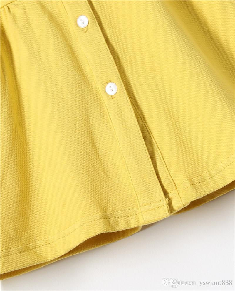 높은 품질 어린이 드레스 옷깃 반팔 순수 코튼 퓨어 컬러 여름 새 여자 공주 드레스 레저 바람