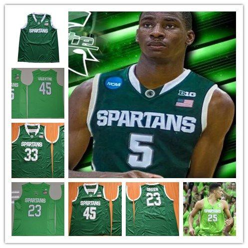 new products 54fb1 3c735 Denzel Valentine Michigan State Spartans Denzel Valentine mens NCAA College  Basketball Jersey cassius winston Apple Green Stitched Jerseys