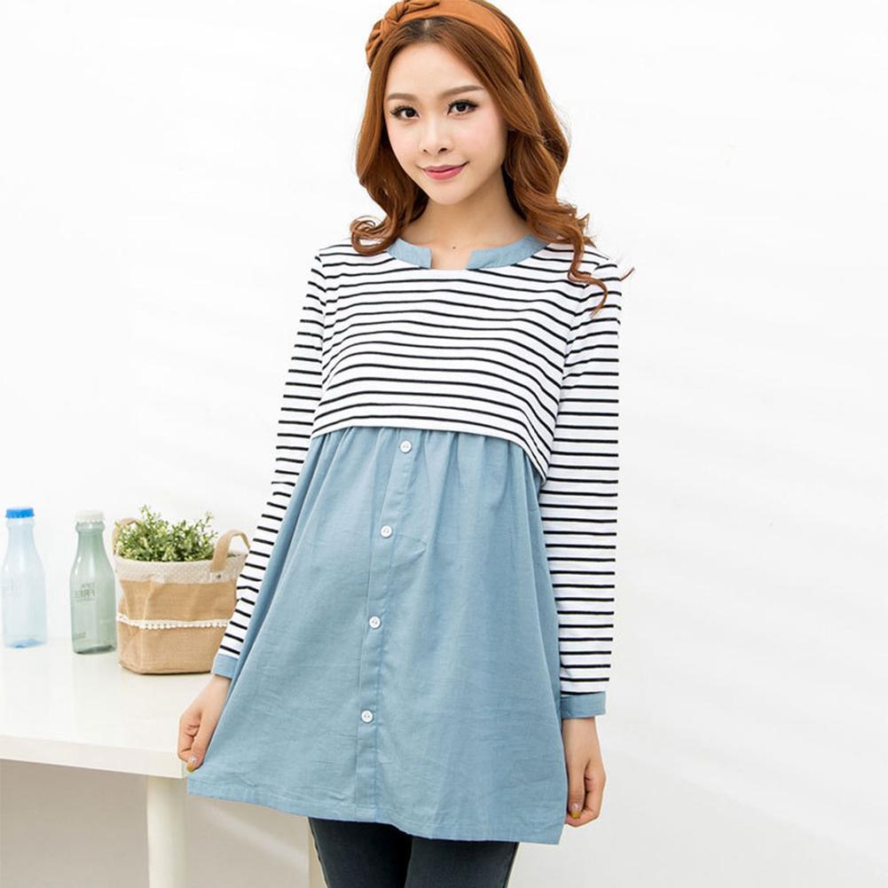 cd02e2296 Las mujeres embarazadas mangas largas camiseta patchwork blusa suelta  Primavera Otoño desgaste rayas lactancia materna remata ropa de maternidad