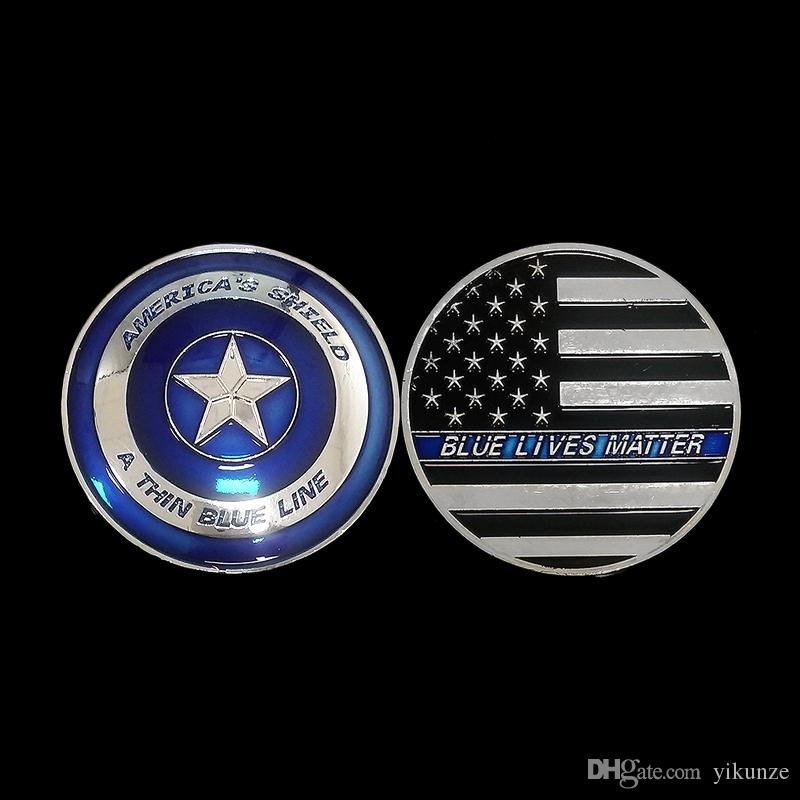Wholesale Cheap Price and Free Shipping 50mm US Flag Blue Lives Matter  Colorful Captain Shield Shape Silver Plated Challenge Coin