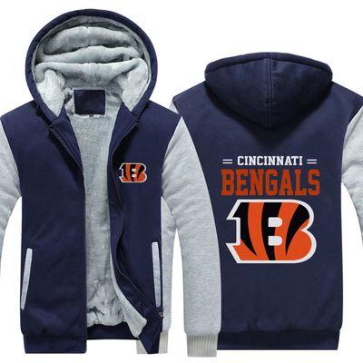 outlet store c7391 8902f Football Cincinnati Bengals Sweatshirt Warm Fleece Thicken Jacket Zipper  Coat Hoodies & Sweatshirts Up-to-date Jacket
