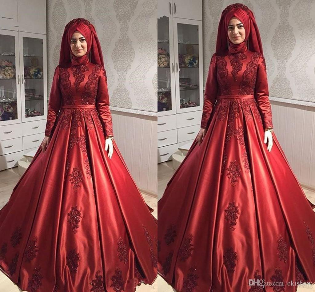 2018 Modest Muslim Burgundy High Collar Lace Appliques A-line Evening Dresses Elegant Satin Long Sleeve Formal Long Dress Party Gowns