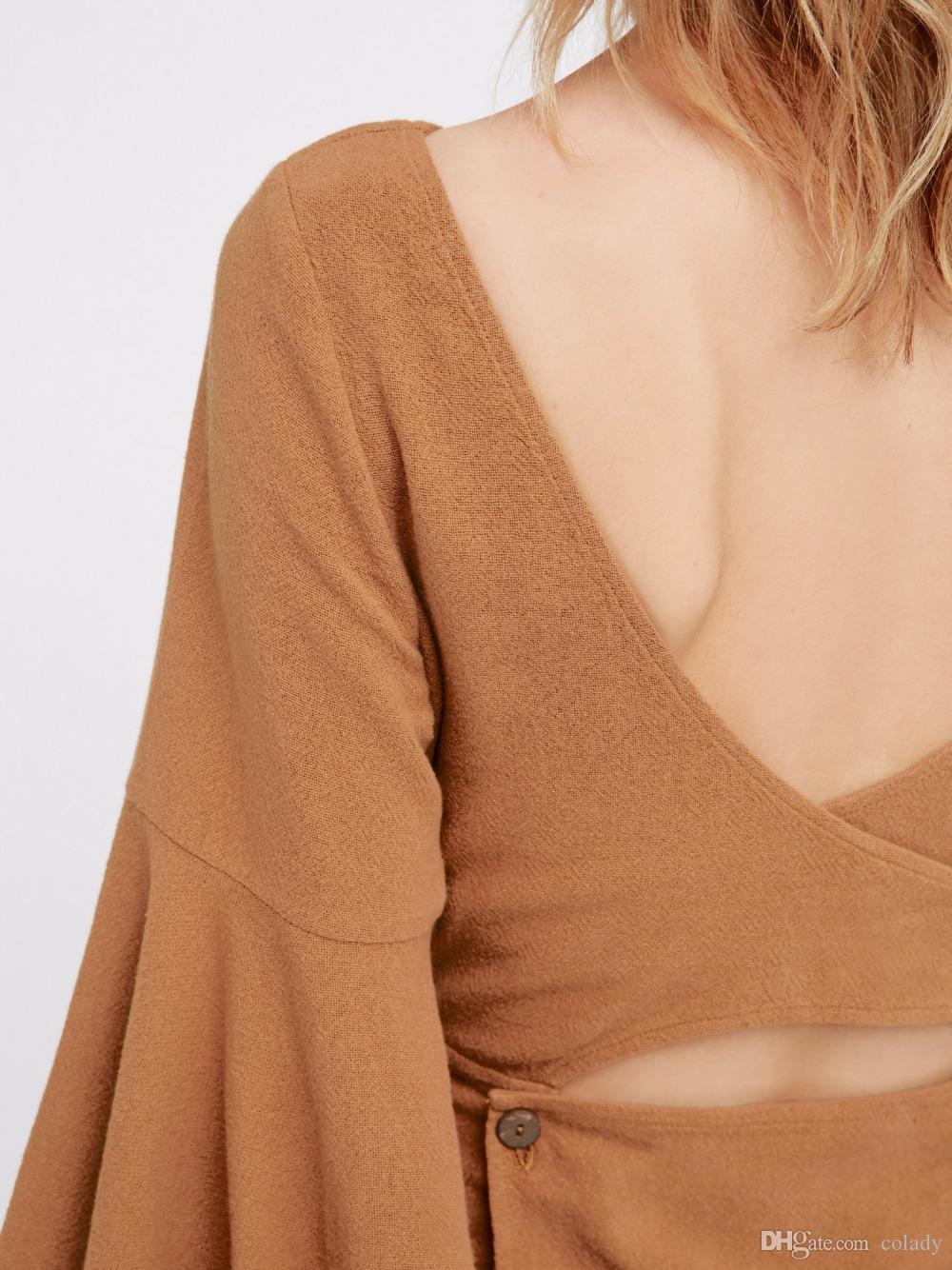 Yeni Moda Bahar Bayanlar Seksi midriff-baring Backless Uzun Fırfır Kollu Mini Elbiseler Casual Parti Vestidos Gençler Giyim