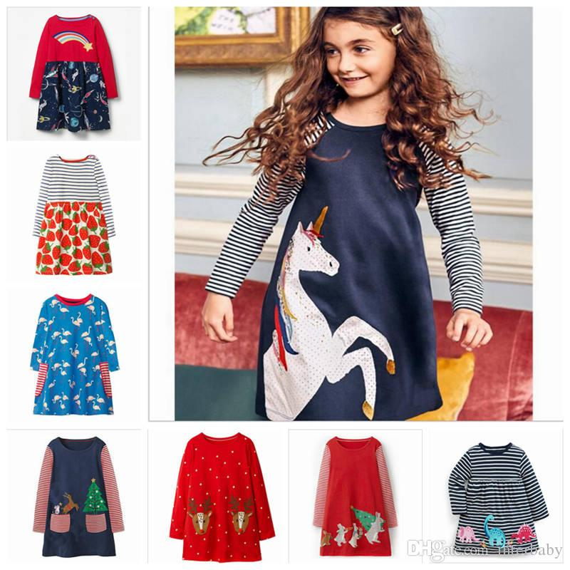 e74afc5b72a 2019 Christmas Girls Dresses Unicorn Animal Striped Dress Infant Long  Sleeved Top T Shirt Kids Designer Clothes ZYL7 4 From Interbaby