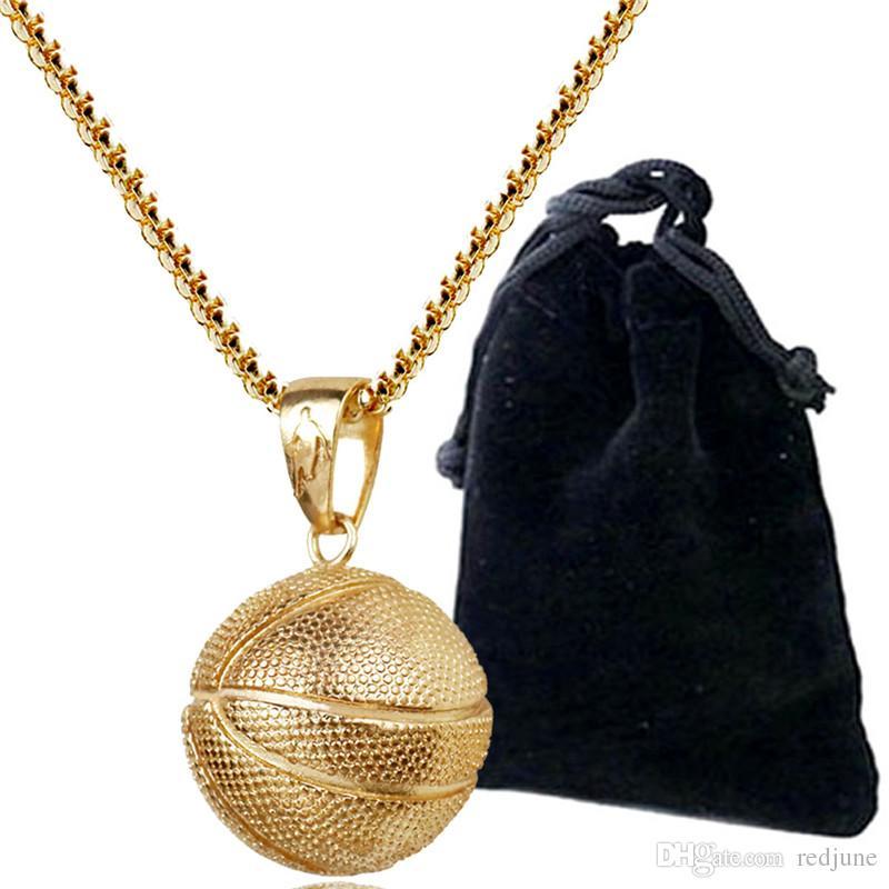 Ciondolo pallacanestro Collana Collana in acciaio inossidabile oro Collana donna Uomo Sport Hip Hop Gioielli Basket Calcio Lovers regalo