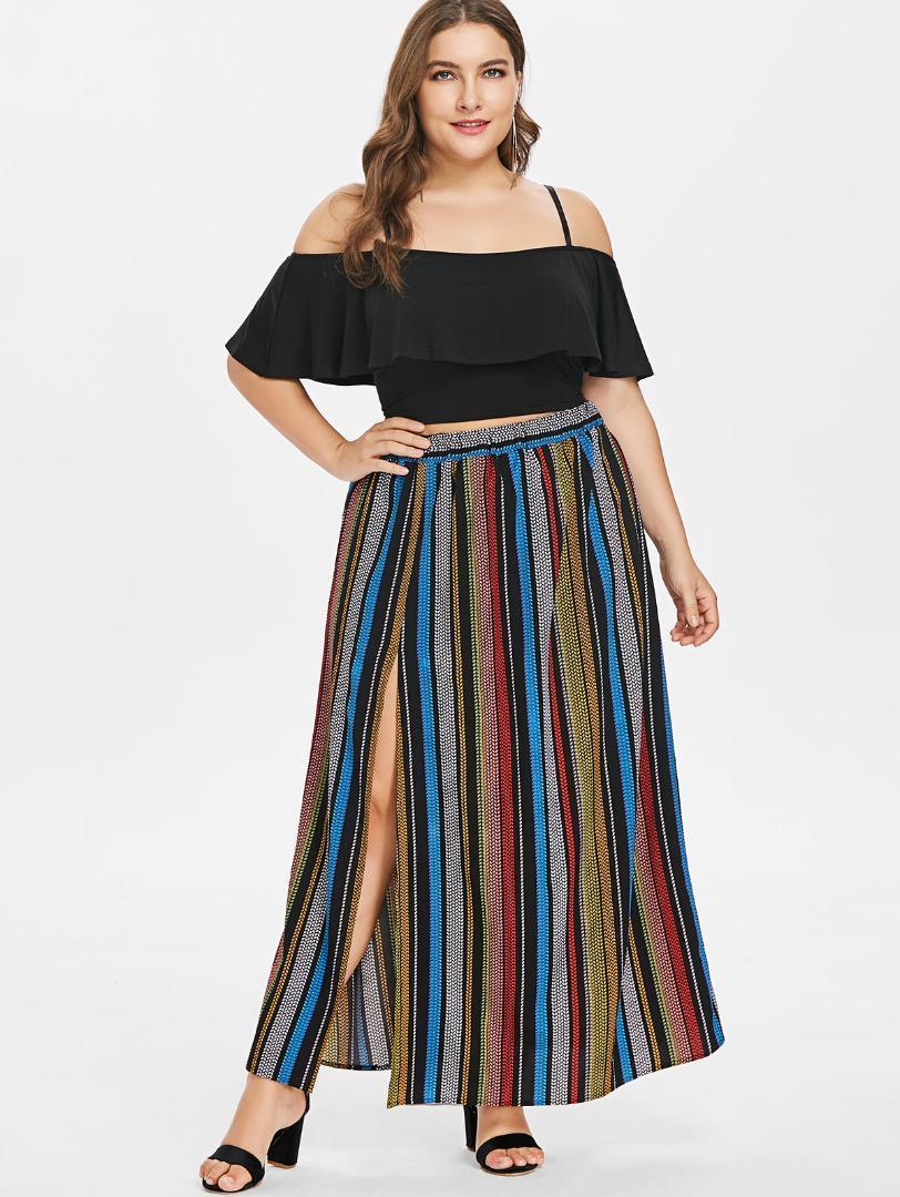 3ab2977d 2019 Wipalo Plus Size Ruffle Crop Top Striped Maxi Dress Casual Spaghetti  Strap Short Sleeves Side Slit Two Piece Dress Women Vestido From  Finebeautyone, ...