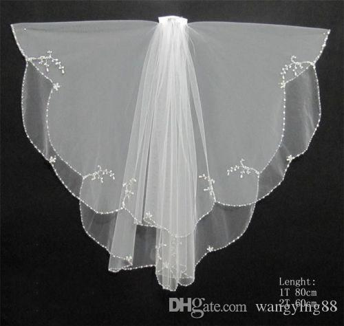 Luxury Cathedral Wedding Veils Handmade beaded Beads Pearl White/Ivory 2T Wedding Bridal Veil with Comb Veu De Noiva