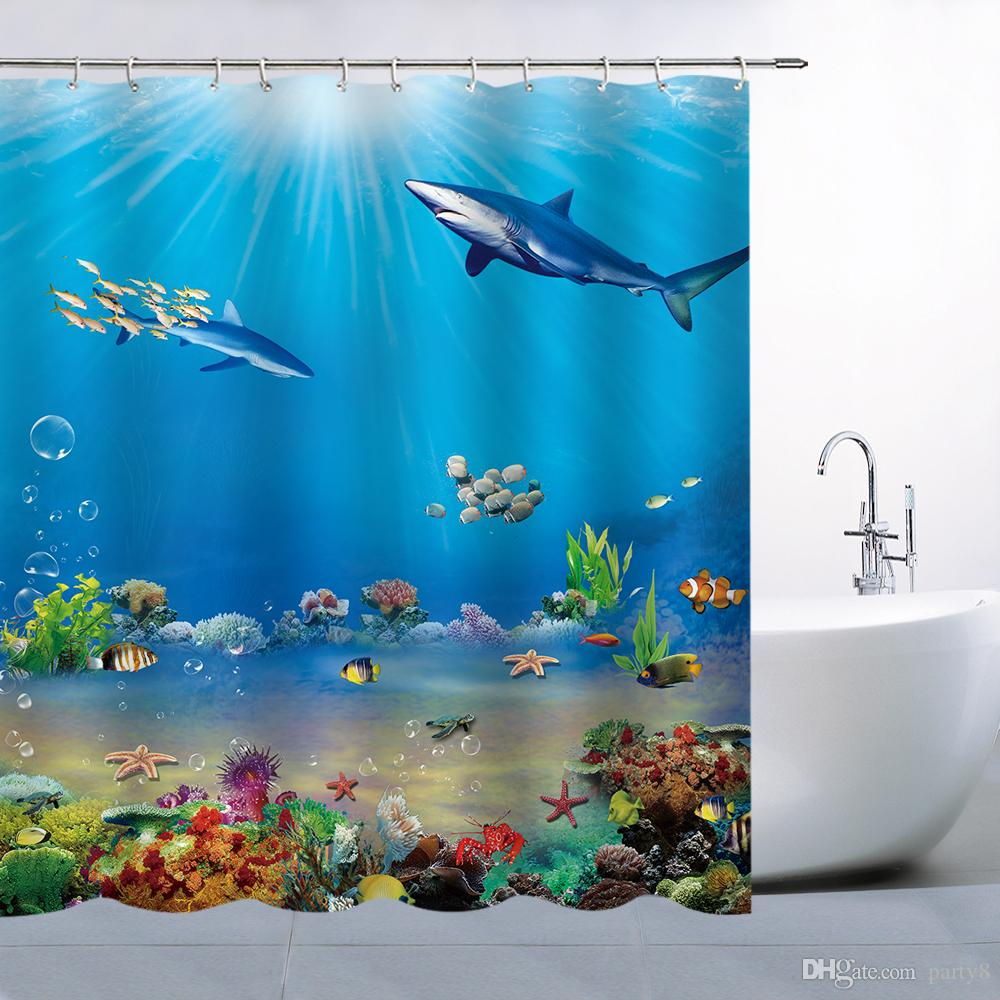 2019 Ocean Animal Shark Fish Seabed Shower Curtains 69 X 70 Inch Polyester Waterproof Mildew Perfect Home Bathroom Supplies Hanging From Party8
