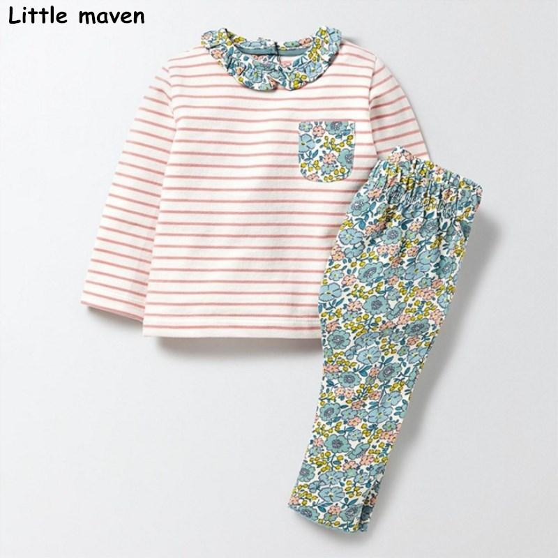 98630f957f44a Little maven children s clothing sets 2017 autumn Girls Cotton brand long  sleeve striped pocket t shirt floral pants 20145 Y18102408