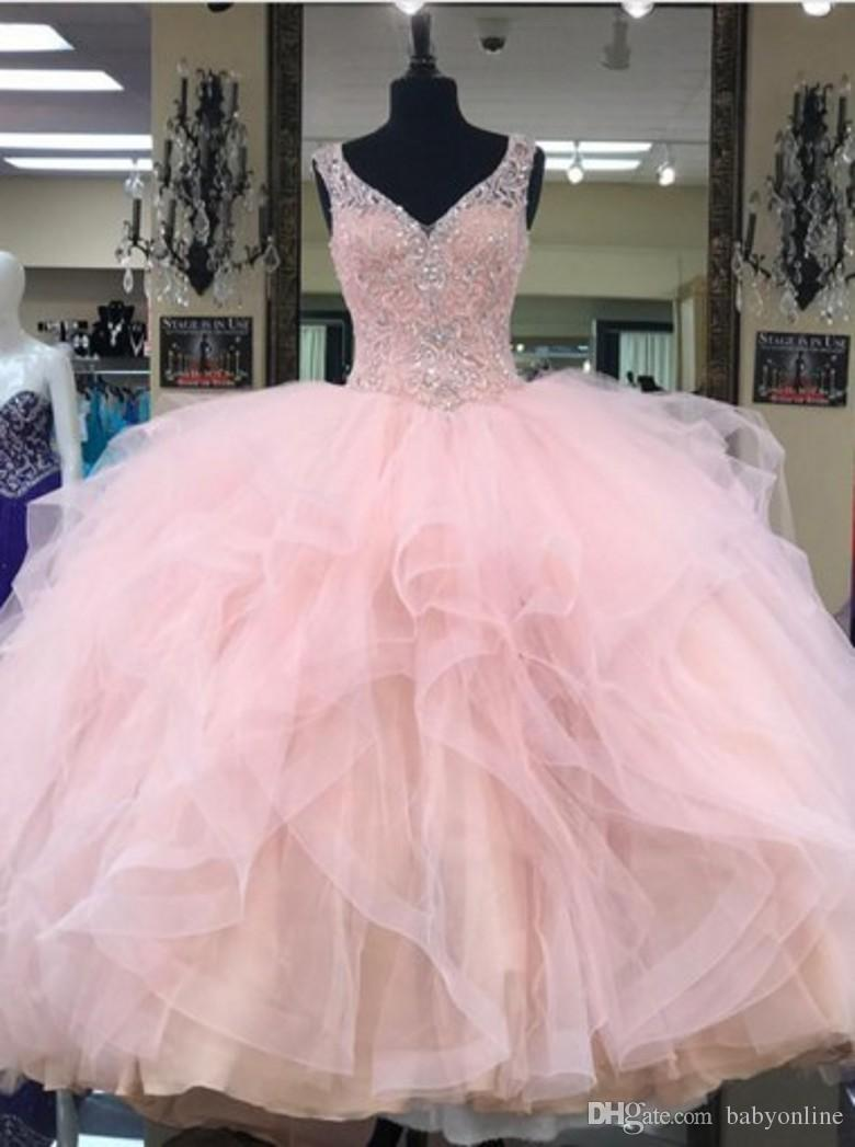 Glittering Sequins Crystal Pink Quinceanera Dresses 2018 New Real Image Sweet 16 Years Princess Prom Dress Custom Made