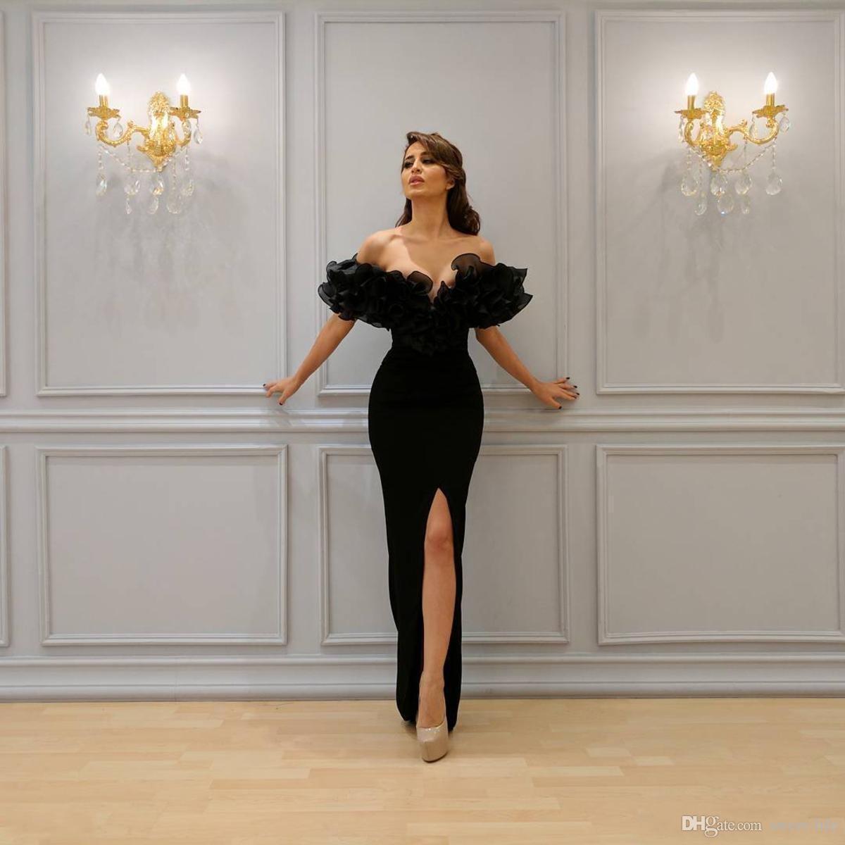 2018 Sexy Prom Dresses Split Prom Dresses Black Off Shoulder Appliques Sleeve Tromba Abiti da sera economici abiti da sera personalizzati