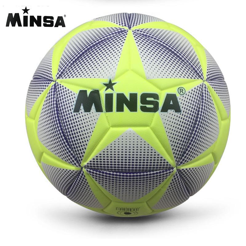 Compre Nova Marca MINSA Alta Qualidade A ++ Bola De Futebol Padrão PU Bolas  De Treinamento De Bola De Futebol Oficial De Futebol Tamanho 5 E Tamanho 4  Bal ... 4fa5b2a884437