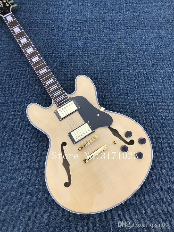 NEW Custom 335 Jazz Electric Guitar Semi Hollow Body Archtop Guitar Natural Maple Top Real photo showing