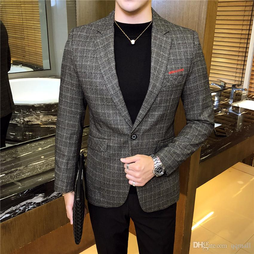 31b17965934fb Satın Al 2018 Sonbahar Yeni Erkek Takım Ceketler Iş Rahat Ekose Çizgili  Takım Elbise Mont Erkek Ince Uygun Erkek Blazer Ceket S 3XL, $50.77 |  DHgate.Com'da