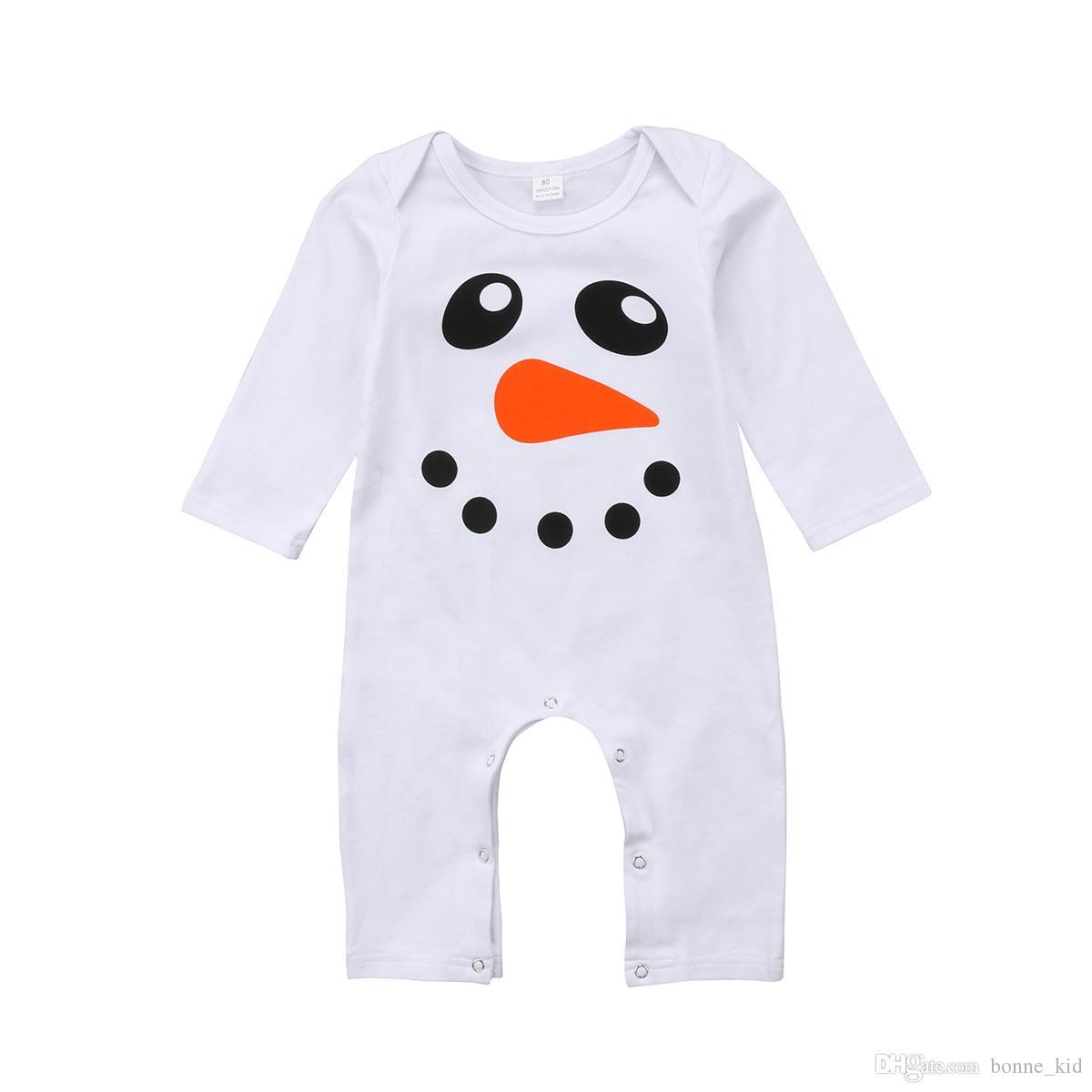Compre 2018 Nuevo Lindo Muñeco De Nieve Bebé Mameluco Recién Nacido Niño  Niña Ropa De Algodón De Manga Larga Monos Blancos Pijamas Primavera Otoño  Navidad ... a2f9e6dae27a1