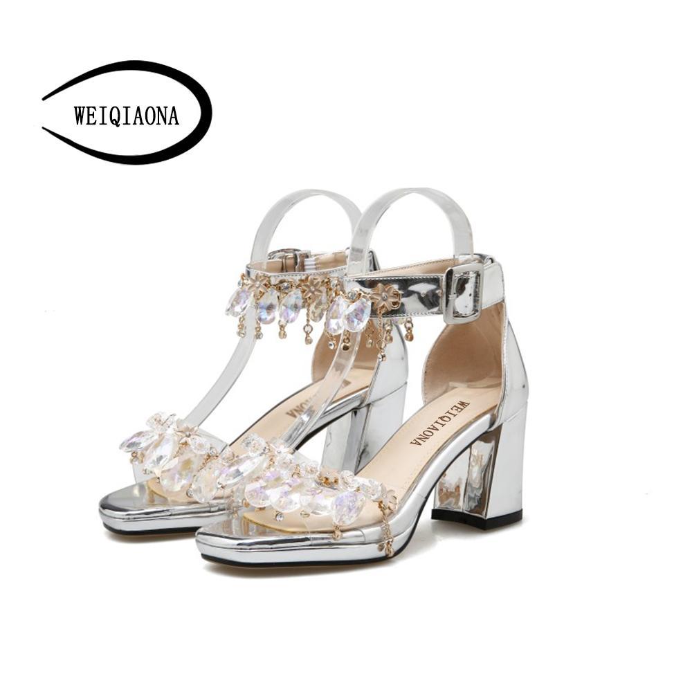 6d9ecd5e90 le donne all'ingrosso di lusso Bling Bling sandali di cristallo di spessore  tacco scintillante frangia strass abito scarpe da sposa sandali